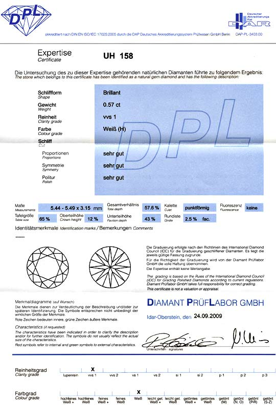 Foto 9, Brillant 0,57ct Diamant Wesselton Weiss VVS1 DPL VGVGVG, D6004