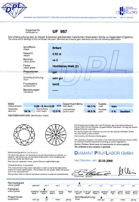 Foto 9, Brillant 0,52 ct Diamant DPL River Hochfeines Weiss VS2, D6007