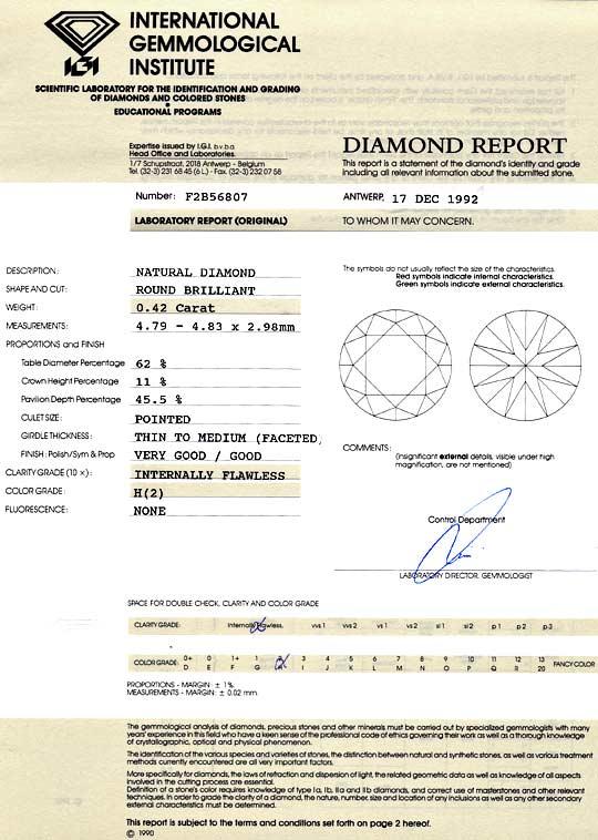 Foto 9, Brillant 0,42ct Diamant IGI Wesselton Weiss H Lupenrein, D6009
