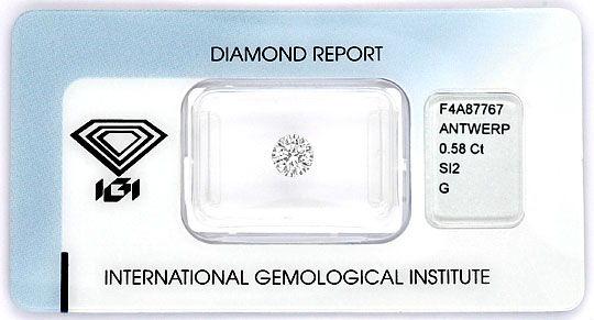 Foto 1, 0,58 Vollschliff Brillant IGI Top Wesselton SI2 Diamant, D6012