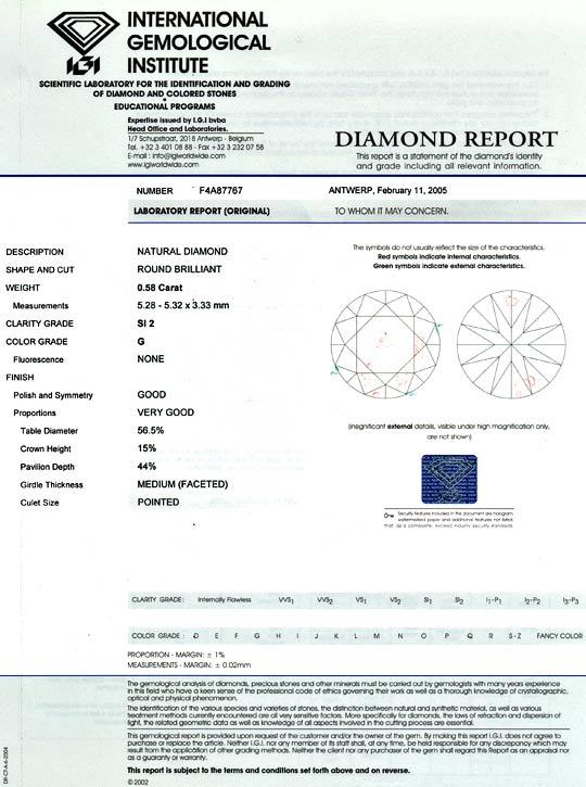 Foto 9, 0,58 Vollschliff Brillant IGI Top Wesselton SI2 Diamant, D6012