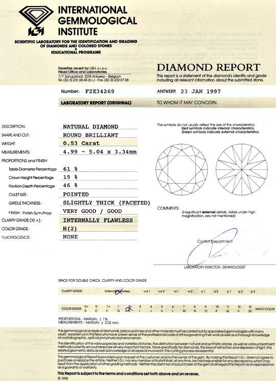 Foto 9, 0,53ct Brillant IGI Lupenrein Wesselton Weiss H Diamant, D6013