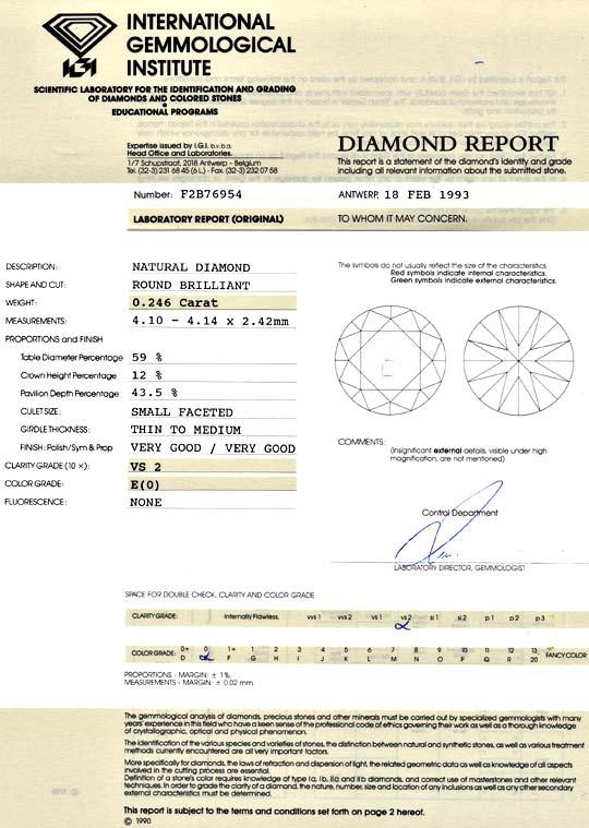 Foto 9, Diamant 0,246ct Brillant IGI River Hochfeines Weiss VS2, D6014