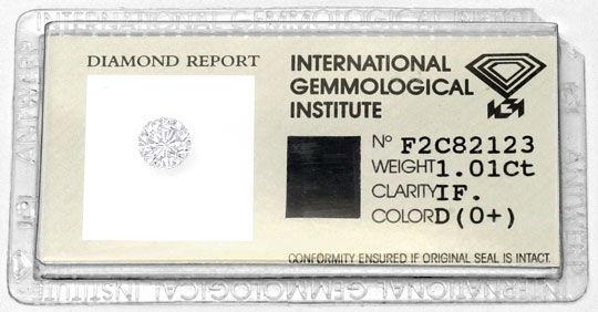 Foto 1, Der Beste Brillant 1,01 Lupenreiner Diamant IGI River D, D6015