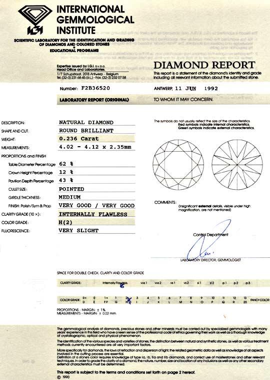 Foto 9, Diamant 0,236 ct Brillant IGI Lupenrein Wesselton VG VG, D6017