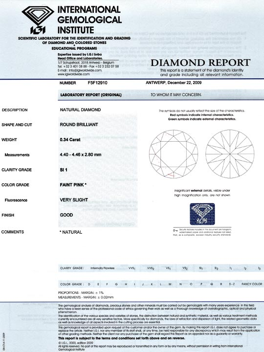 Foto 9, Natural Faint Pink Diamant 0,348ct Rosa Brillant SI IGI, D6020