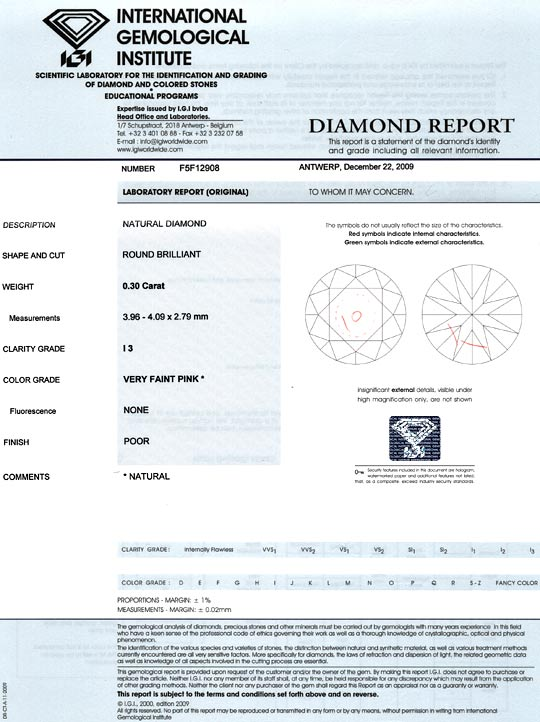 Foto 9, Natural Very Faint Pink Diamant 0,3ct Rosa Brillant IGI, D6021