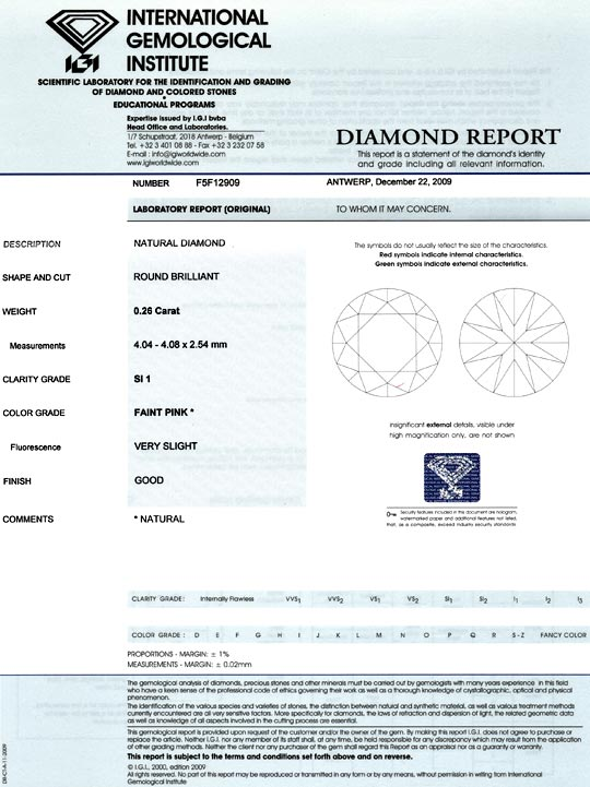 Foto 9, Natural Faint Pink Diamant 0,26ct Rosa Brillant SI1 IGI, D6022