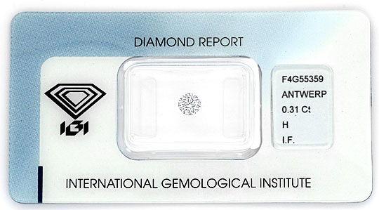 Foto 1, Brillant 0,31 Diamant Lupenrein Wesselton IGI Excellent, D6030