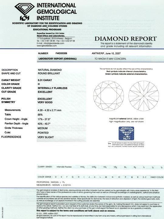 Foto 9, Brillant 0,31 Diamant Lupenrein Wesselton IGI Excellent, D6030