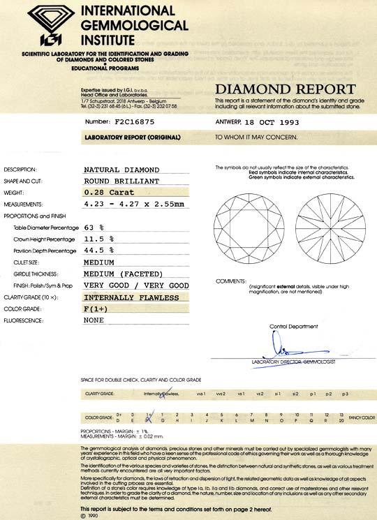 Foto 9, Brillant 0,28ct Lupenreiner Diamant IGI Top Wesselton F, D6031
