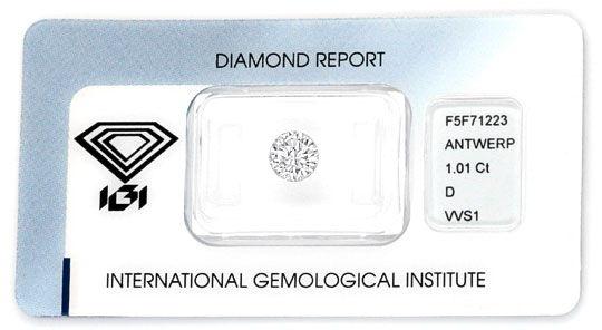 Foto 1, Diamant 1,01Carat Brillant River D, VVS1, IGI Expertise, D6037