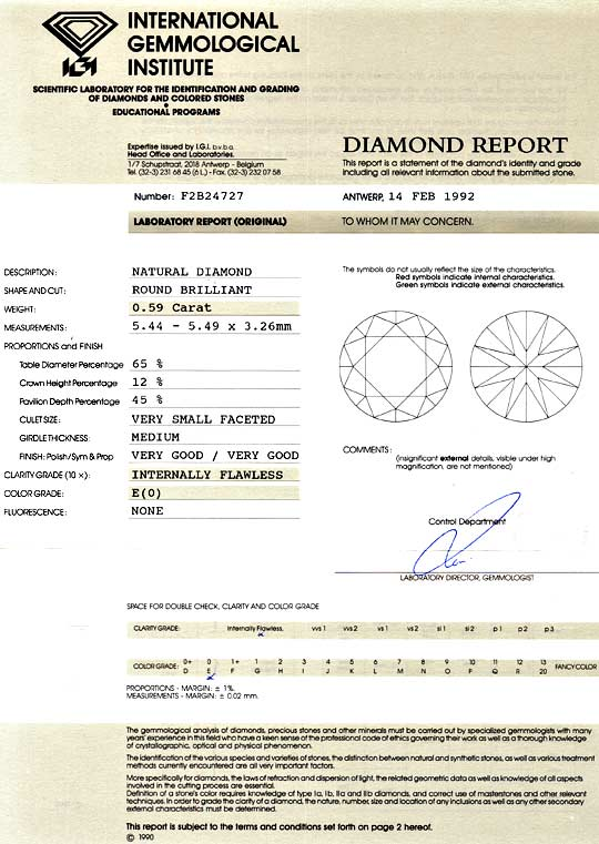 Foto 9, Diamant 0,59ct Brillant IGI Expertise Lupenrein River E, D6040