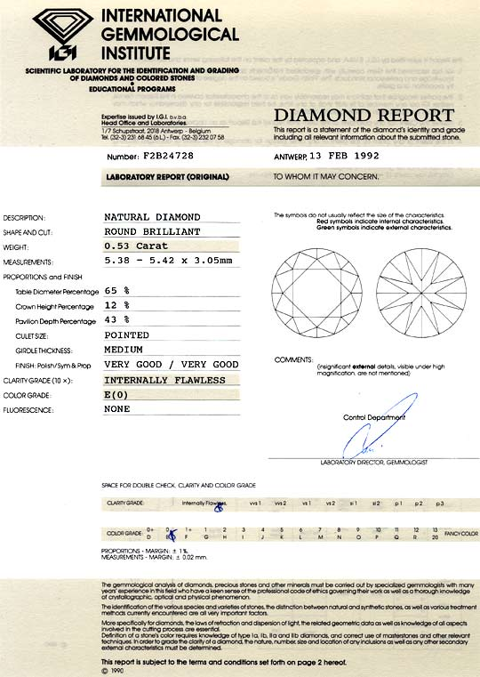 Foto 9, Diamant 0,53 Carat Brillant IGI Lupenrein River E VG VG, D6041