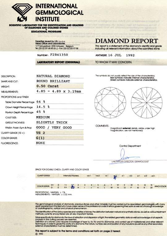 Foto 9, Diamant 0,50ct Brillant IGI Halb Karaeter Top Wesselton, D6044
