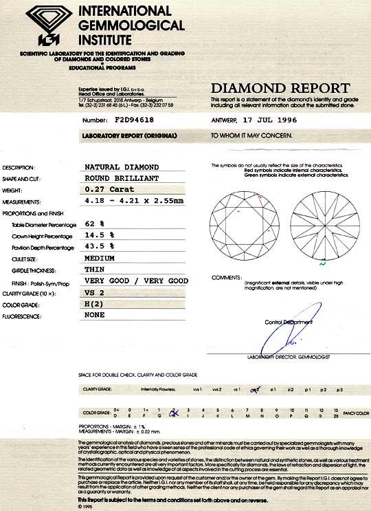 Foto 9, Diamant 0,27 Brillant IGI Gutachten Wesselton Weiss VS2, D6046