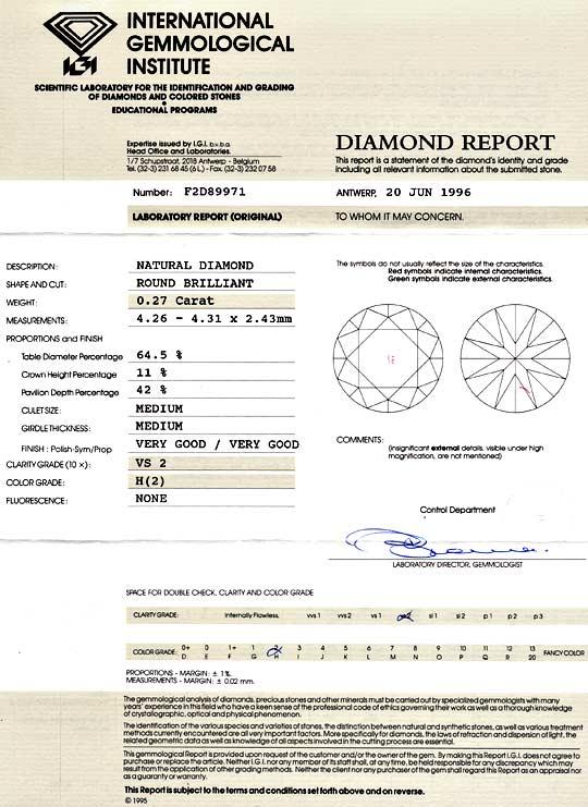 Foto 9, Diamant 0,27 Brilliant IGI Gutachten Wesselton Weiss VS, D6047