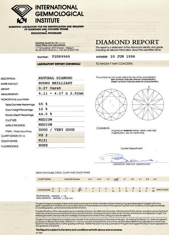 Foto 9, Diamant 0,27ct Brilliant IGI Gutachten, Wesselton Weiss, D6048