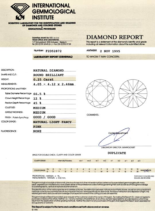 Foto 9, 0,25 Natural Fancy Light Pink Rose Diamant Voll-Schliff, D6050
