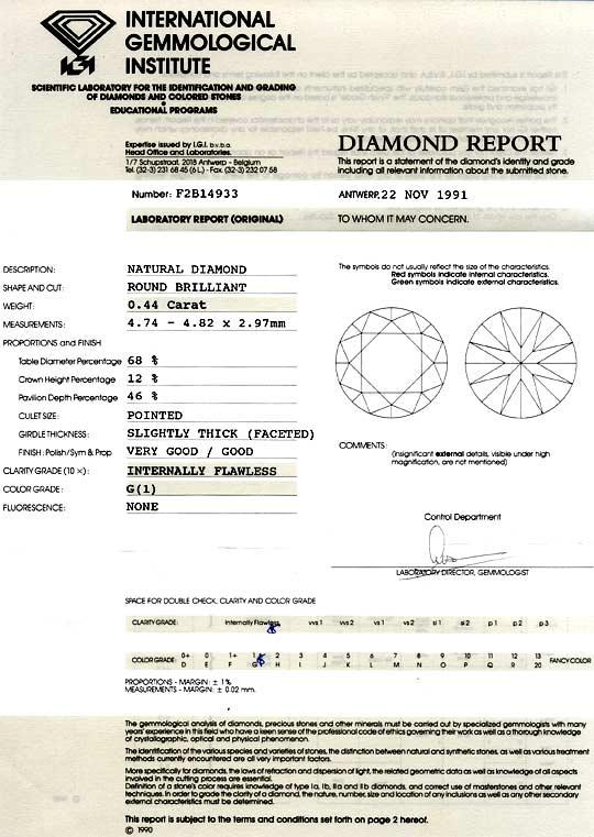 Foto 9, Diamant 0,44 Carat Brillant IGI Lupenrein Top Wesselton, D6054