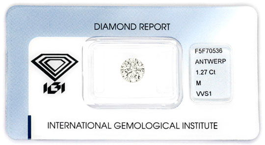 Foto 1, Diamant 1,27 Carat Brillant IGI VVS1, Ist Optisch Weiss, D6056
