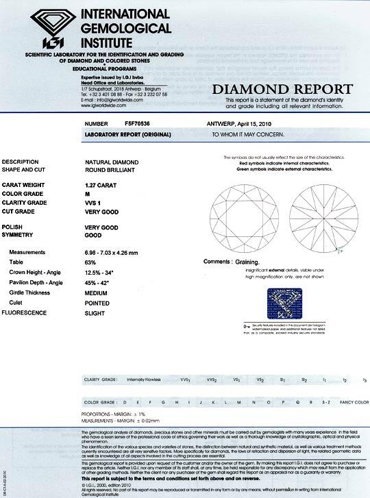 Foto 9, Diamant 1,27 Carat Brillant IGI VVS1, Ist Optisch Weiss, D6056