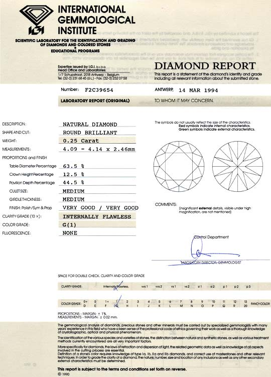 Foto 9, Diamant 0,25ct Brilliant IGI Lupenrein Top Wesselton VG, D6061