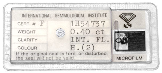 Foto 1, Diamant 0,40 Brilliant IGI Lupenrein Wesselton Brillant, D6062
