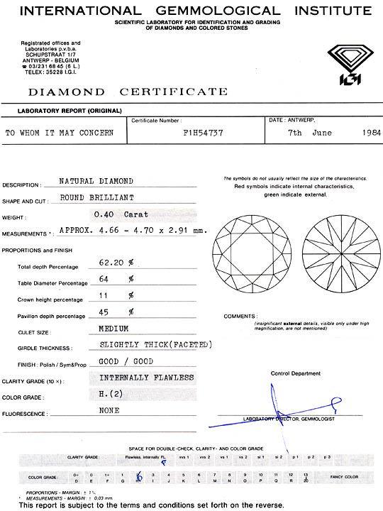 Foto 9, Diamant 0,40 Brilliant IGI Lupenrein Wesselton Brillant, D6062