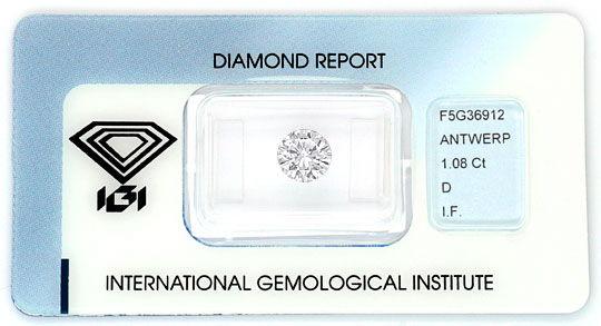 Foto 1, Der Beste Diamant Brillant IGI 1,08ct Lupenrein River D, D6065
