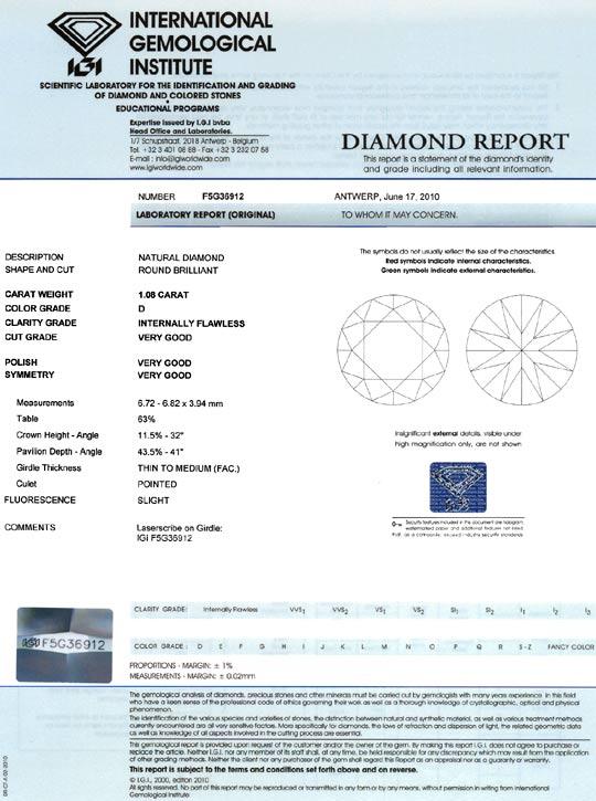 Foto 9, Der Beste Diamant Brillant IGI 1,08ct Lupenrein River D, D6065