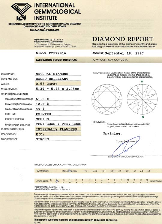 Foto 9, Diamant 0,57 ct Brilliant, IGI Lupenrein River Brillant, D6066