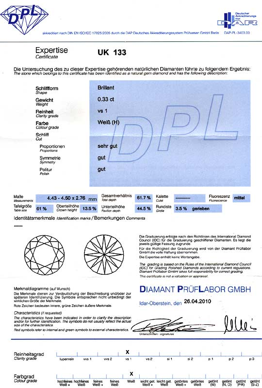 Foto 9, Diamant 0,33ct Brillant, DPL Zertifikat H VS1 Brilliant, D6068