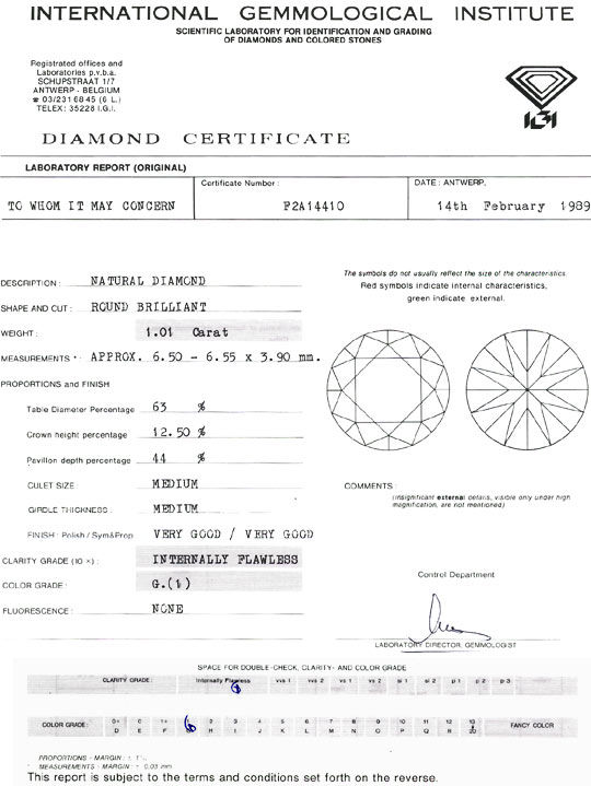 Foto 9, Diamant 1,01ct Brilliant IGI Lupenrein Top Wesselton VG, D6071