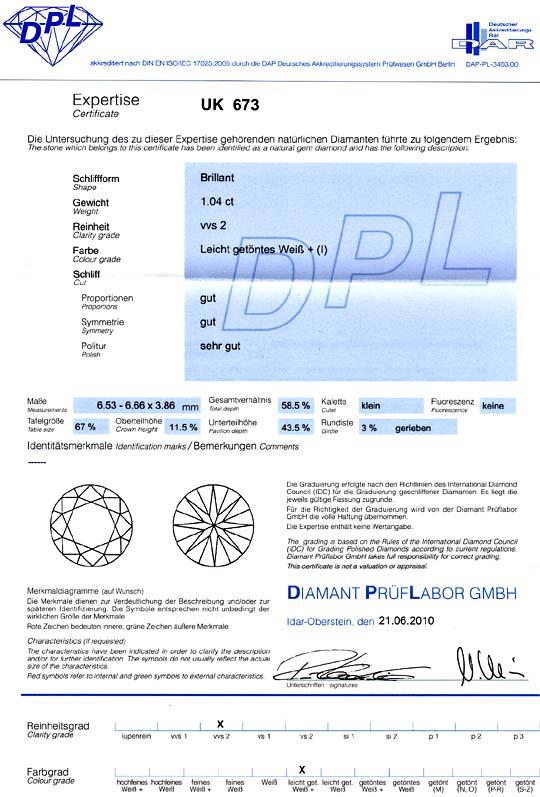 Foto 9, Diamant 1,045 Einkaräter Brillant DPL Zertifikat I VVS2, D6072