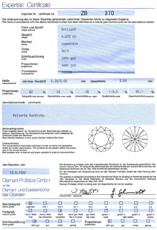 Foto 9, Diamant 0,672ct Brillant DPL Zertifikat Lupenrein Weiss, D6073