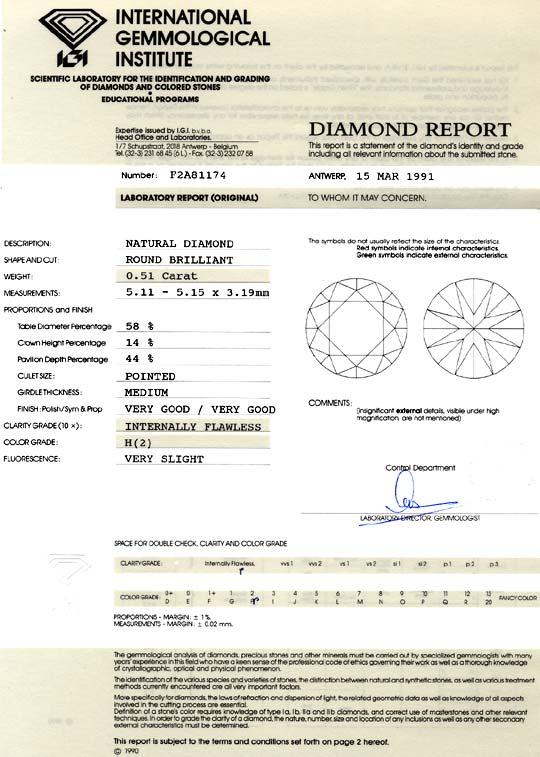 Foto 9, Diamant 0,51ct Brillant IGI Diamant Lupenrein Wesselton, D6076