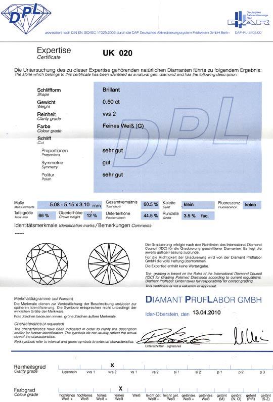 Foto 9, Diamant 0,50 Brillant DPL Zertifikat VVS2 Top Wesselton, D6077