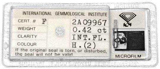 Foto 1, Diamant 0,42ct Brilliant, IGI Lupenrein Wesselton Weiss, D6078