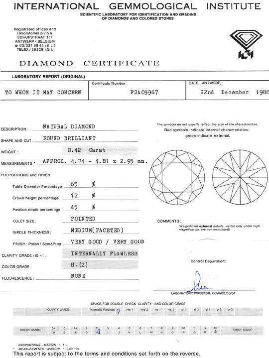Foto 9, Diamant 0,42ct Brilliant, IGI Lupenrein Wesselton Weiss, D6078