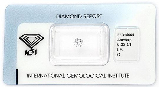Foto 1, Diamant 0,32ct Brillant IGI Lupenrein Top Wesselton 2VG, D6080