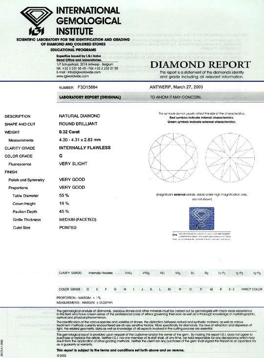 Foto 9, Diamant 0,32ct Brillant IGI Lupenrein Top Wesselton 2VG, D6080
