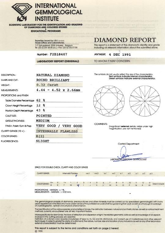 Foto 9, Diamant 0,32 Brillant IGI Brilliant Lupenrein Wesselton, D6081