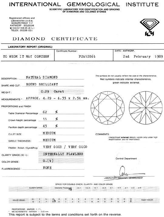 Foto 9, Diamant 0,29 Carat Brillant IGI Lupenrein Top Wesselton, D6083