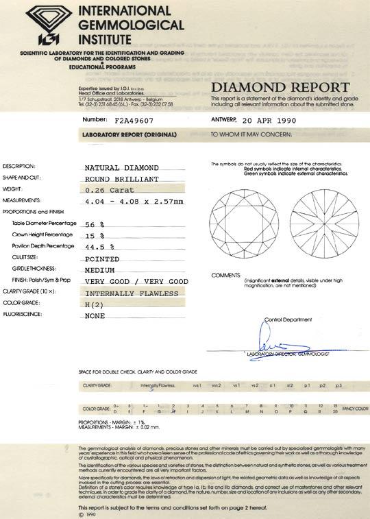 Foto 9, Diamant 0,26 Brilliant IGI Lupenrein Wesselton sehr gut, D6085