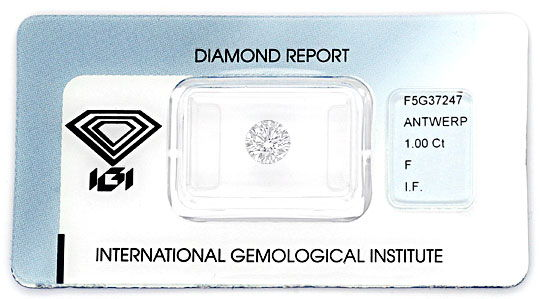 Foto 1, Diamant 1,0ct Brillant IGI Lupenrein Top Wesselton Plus, D6087