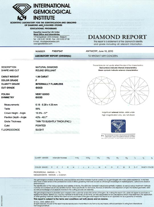 Foto 9, Diamant 1,0ct Brillant IGI Lupenrein Top Wesselton Plus, D6087
