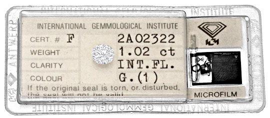 Foto 1, Diamant 1,02ct Brillant IGI Lupenrein Top Wesselton 2VG, D6089