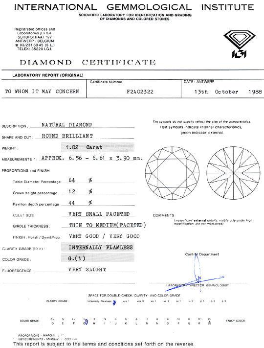 Foto 9, Diamant 1,02ct Brillant IGI Lupenrein Top Wesselton 2VG, D6089
