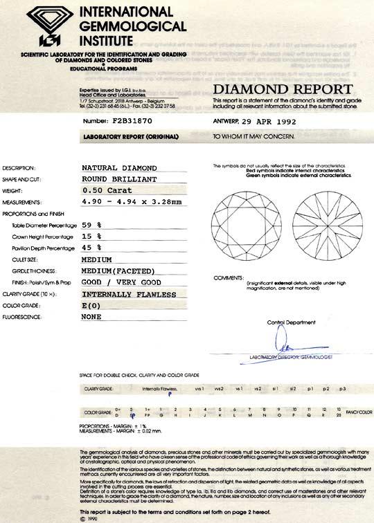 Foto 9, Diamant 0,50ct Brillant Halbkaräter IGI Lupenrein River, D6094